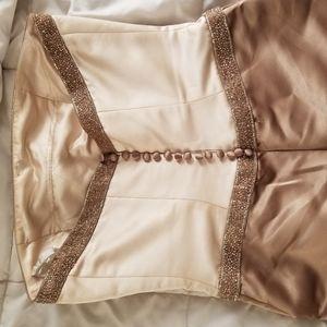 Gold/cream Bill Levkoff gown, strapless
